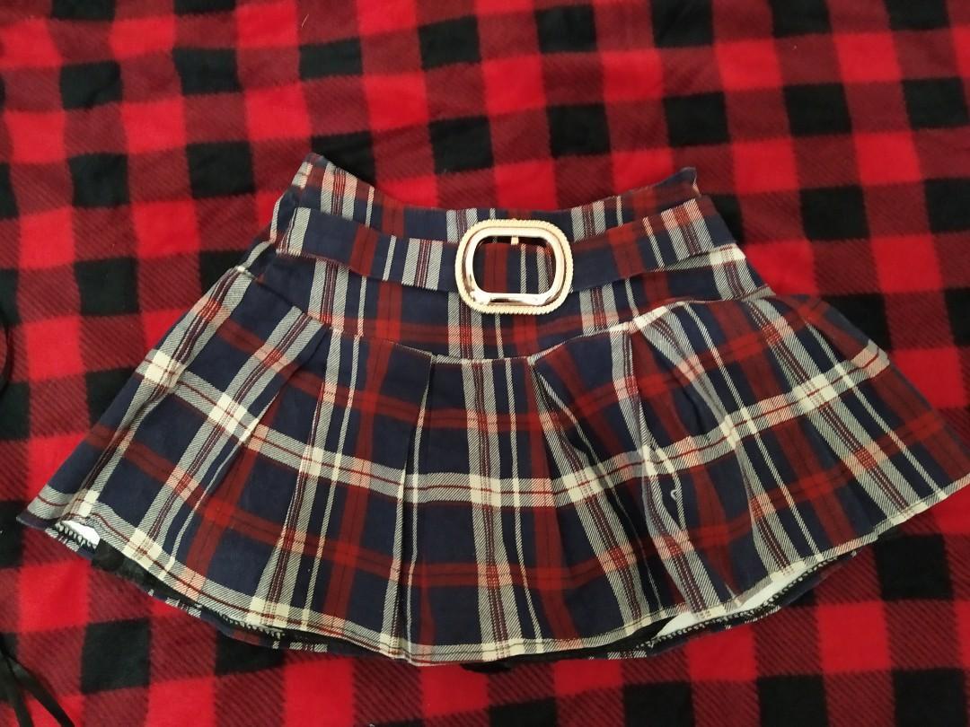 學院風 條紋褲裙 迷你褲裙