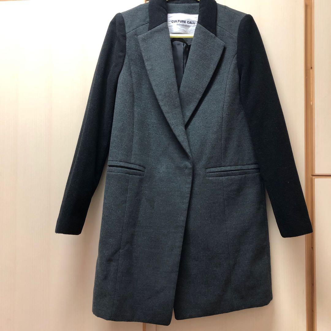 ⭐️ Culture call Korea brand grey long coat 韓國 牌子 灰色 有袋 大衣 外套