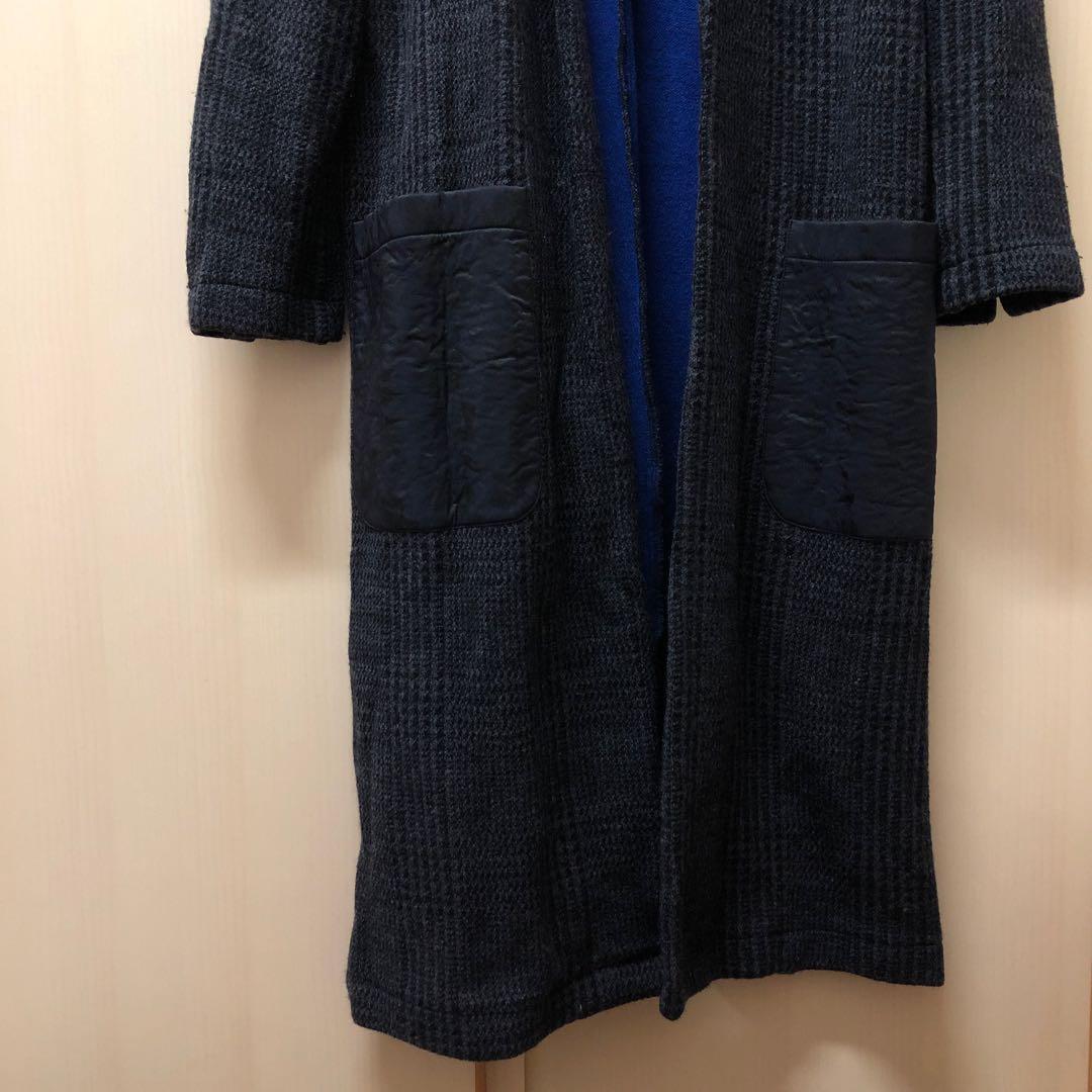 ⭐️  ing enterprise . s/m size black grey blue checked long coat jacket 日本 牌子 迷彩 袋子 黑色 灰色 黑灰 格仔 格子 長身 長 外套 大衣 入面 寶藍 開叉