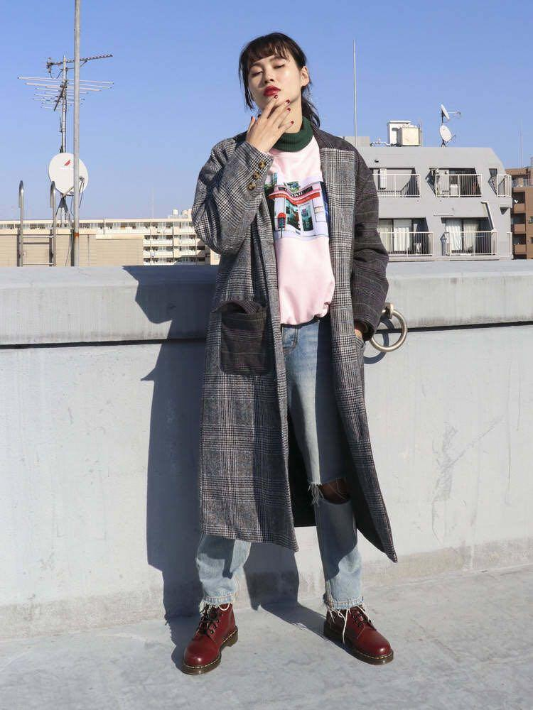 型美💜日系不規則格仔紋圖案中長大褸外套 Japan asymmetric pattern check print midi long outerwear coat grey jacket