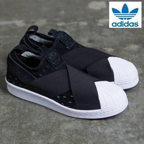 ADIDAS ORIGINALS Superstar Slip-On Sneakers Black & White US9 Minimal