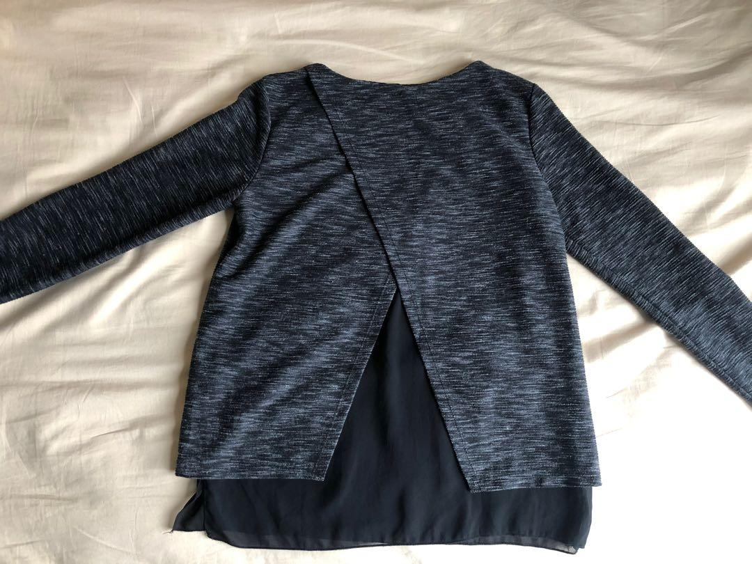 Alive Girl Dark Grey Long Sleeve Butterfly Open Back with Black Insert  Detail - Size 8