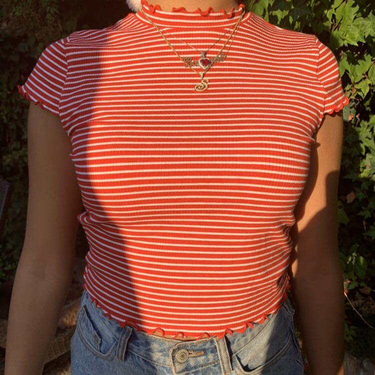 Aritzia sundays best red striped shirt with ruffles cute