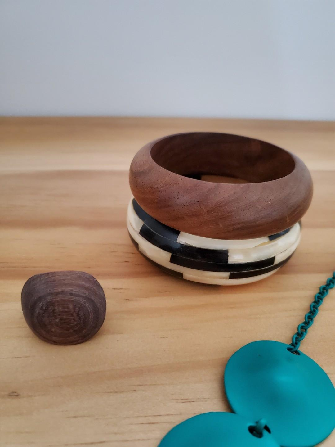 Assorted wooden and metal jewelry