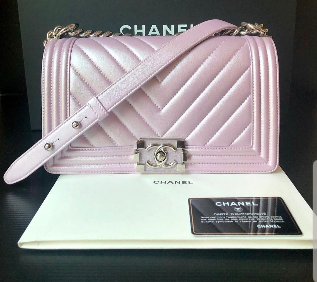 Authentic Chanel boy chevron pink purple metallic bag