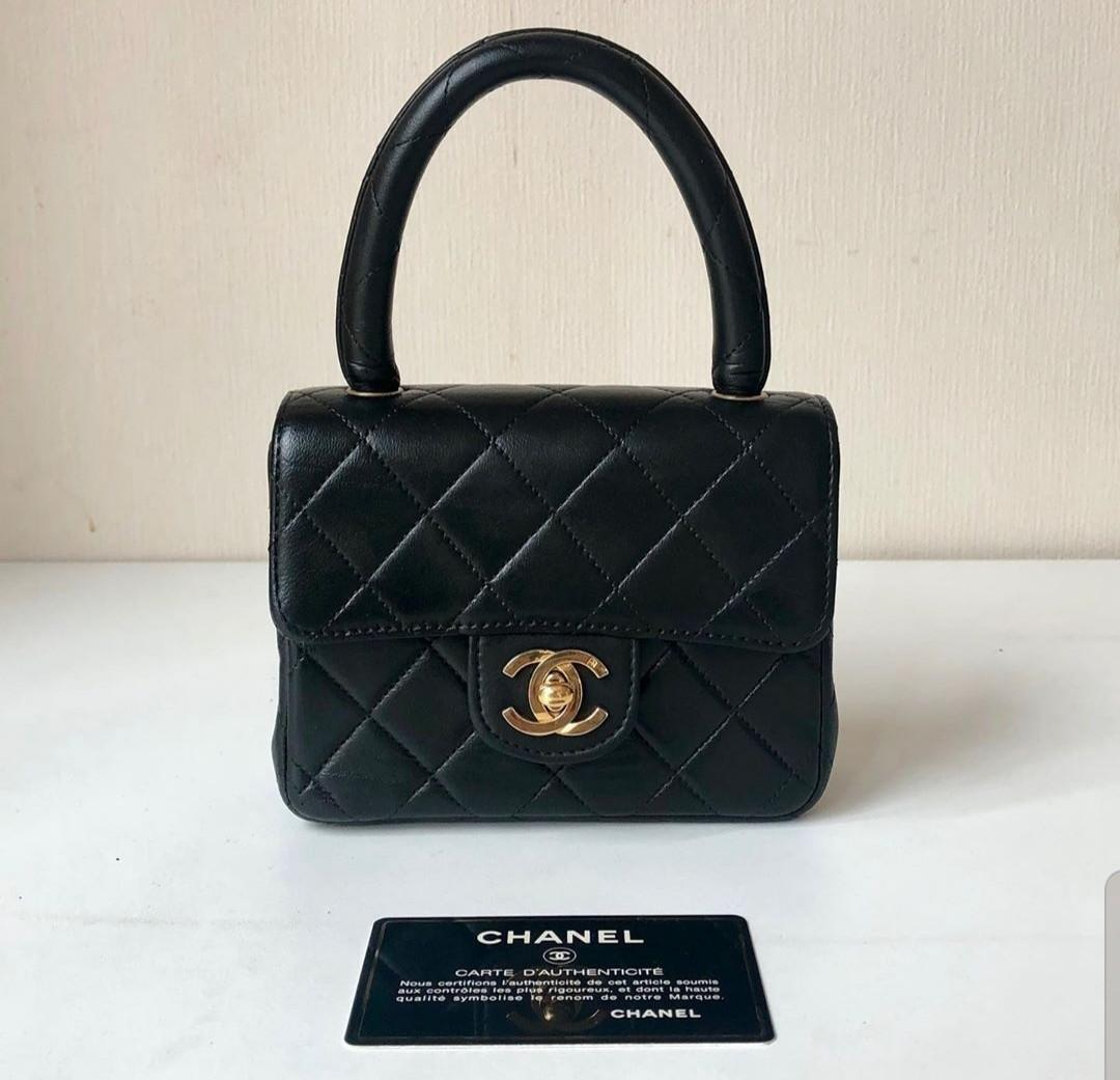 Authentic Chanel Vintage mini kelly top handle black bag