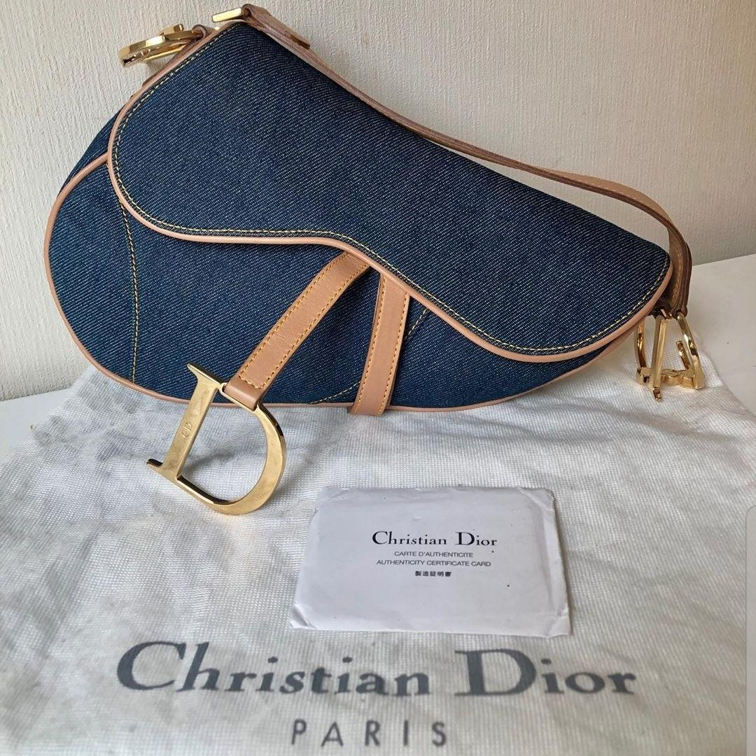 Authentic Dior saddle denim indigo blue bag