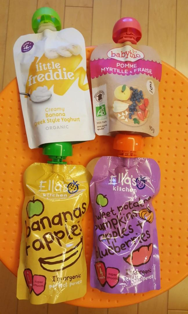 Baby Food Package (Babybio, Little Freddie, Ella's Kitchen) 4 pcs total 嬰兒即食食品共4包