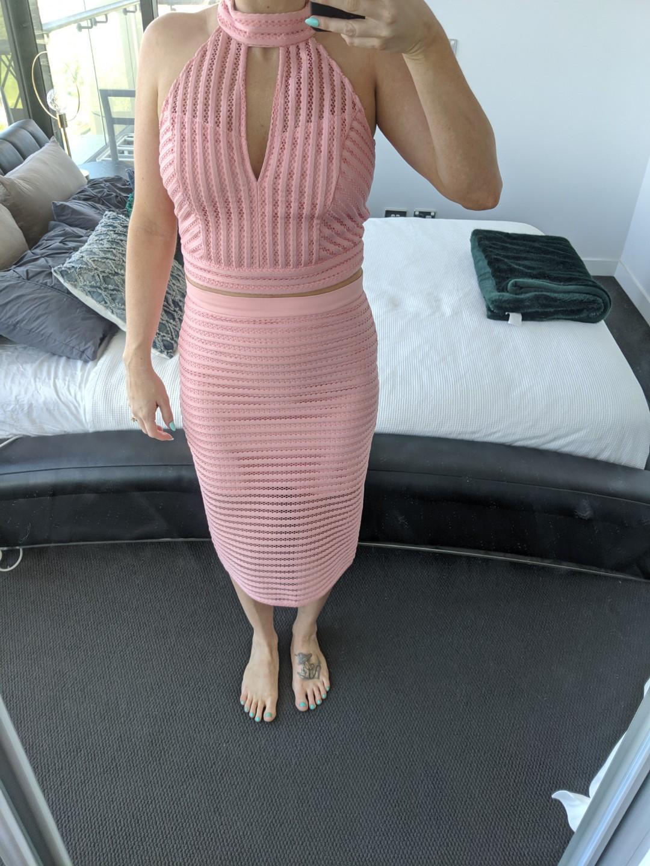 Free postage Bardot pink top skirt dress size 10 12