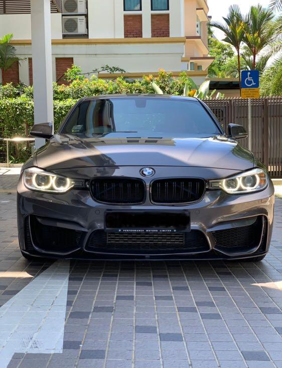 Bmw f30 m sport with m3 bumper for lease rent rental. High option with im built apple carplay and touch screen monitor. Directors 7th car. Cheap steal promotion