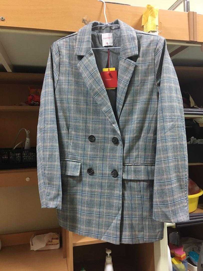 CACO 復古格紋西裝外套