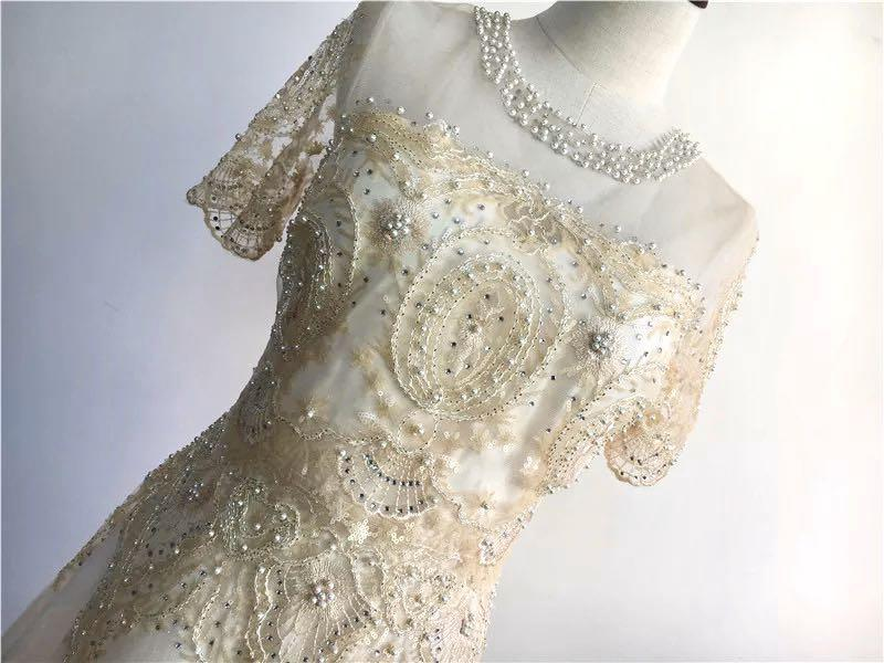 delicate sequin lace see through short sleeves dress beige