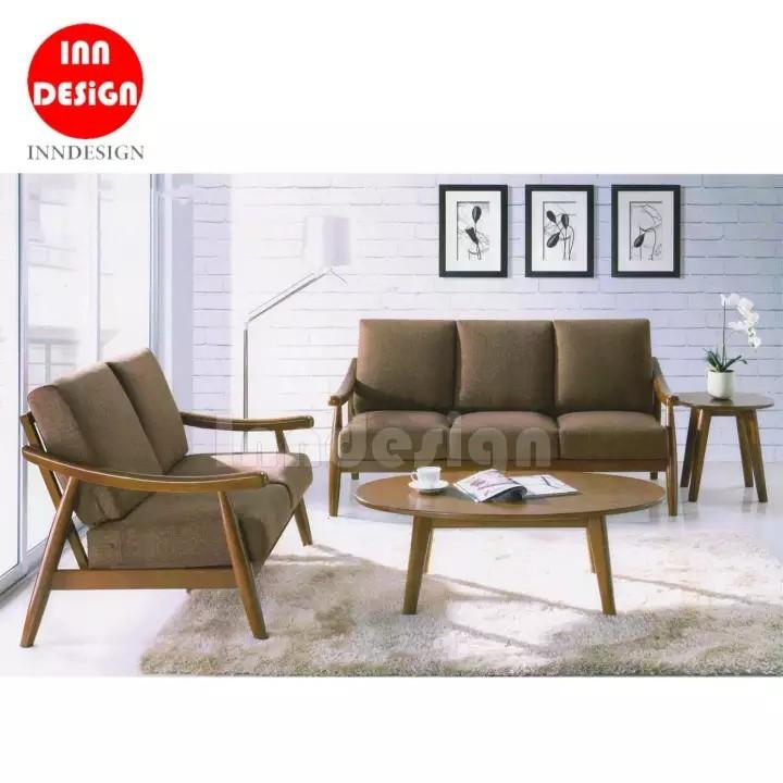 Kery 2+3 Wooded Sofa Set (Free Coffee Table & Side Table)