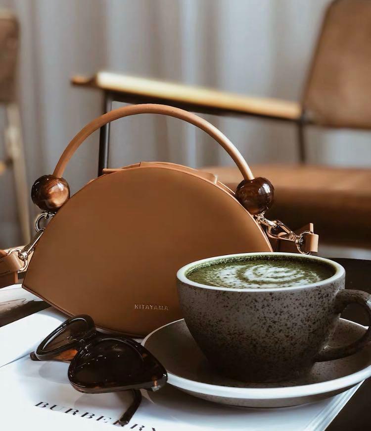 Kitayama real leather designer brown mini bag