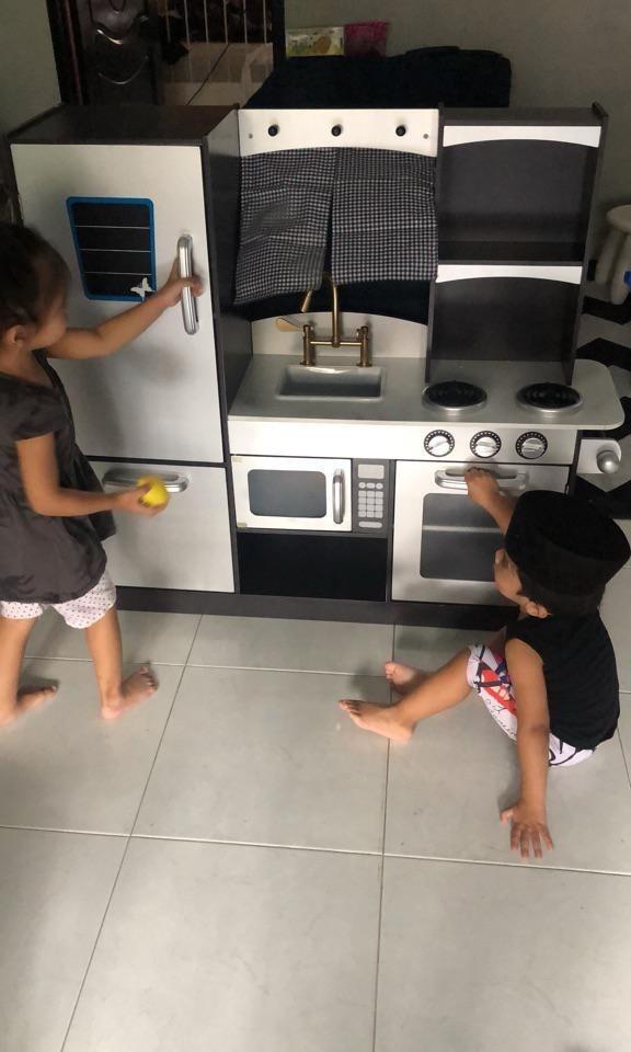 LUXURY Realistic big wooden pretend play kitchen set