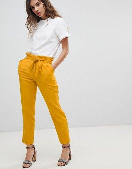 Miss Selfridge Mustard Yellow Paperbag Pants PRELOVED INSTOCK