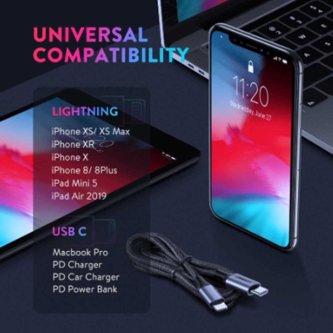 NEW UGREEN 1M USB C to Lightning 36W PD Fast Charging USB Type C Cable Data Cable for iPhone X XS XR 8 For Macbook