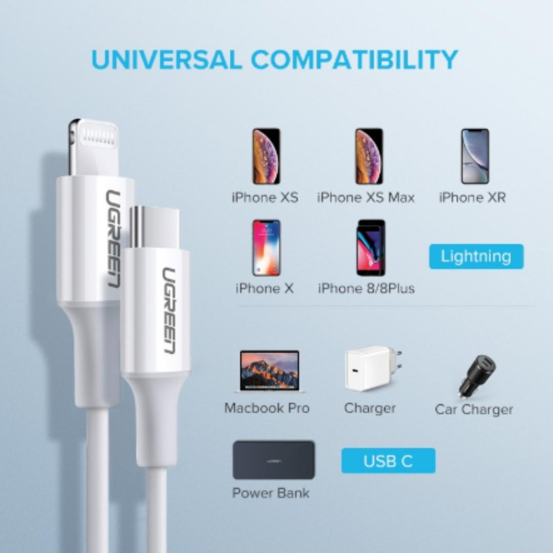 NEW UGREEN USB C To Ligtning 1M PD Fast Charging USB Cable for iPhone XS Max/XS/XR