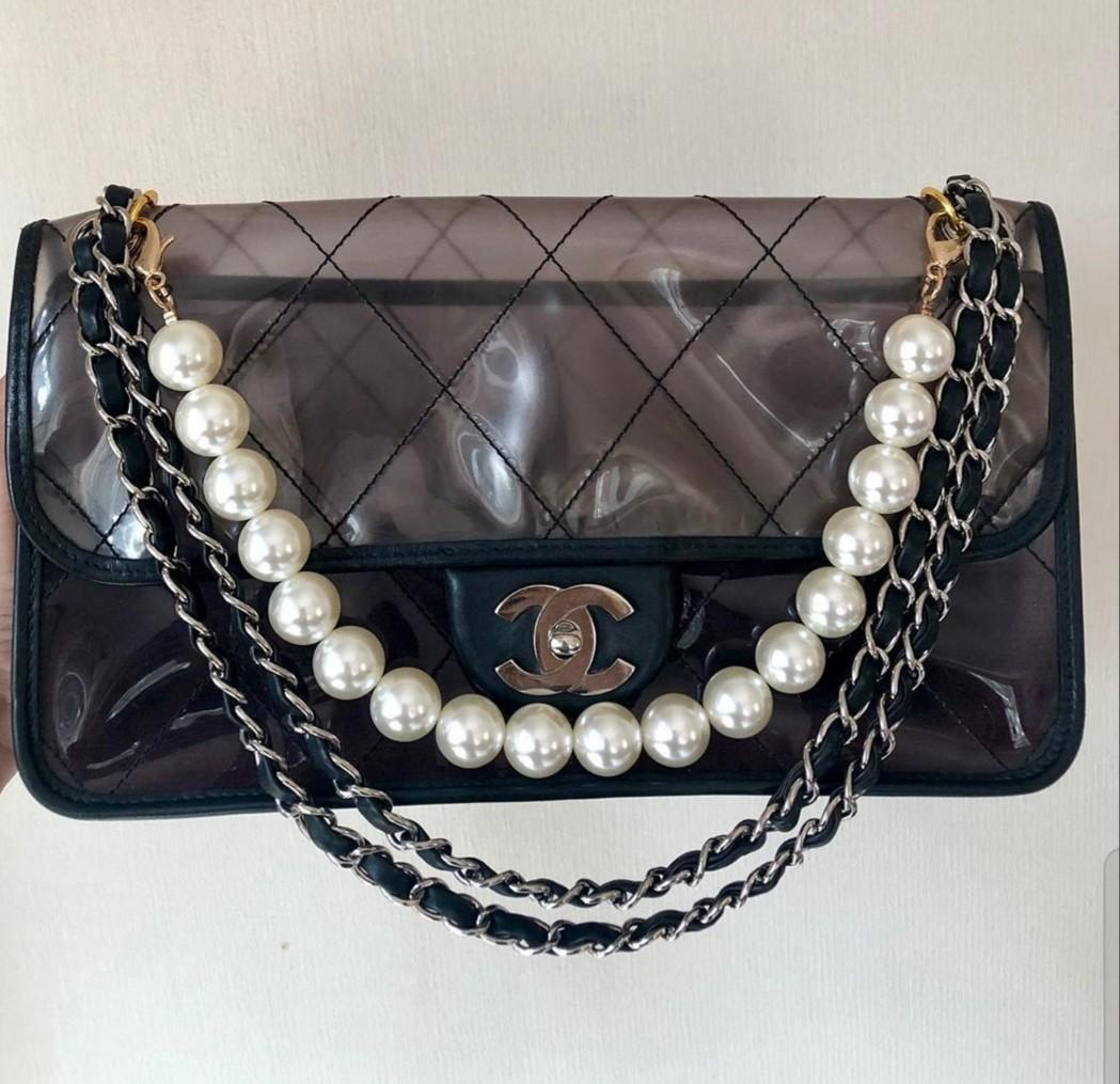 RARE 💎Authentic  Chanel clear pvc pearl bag