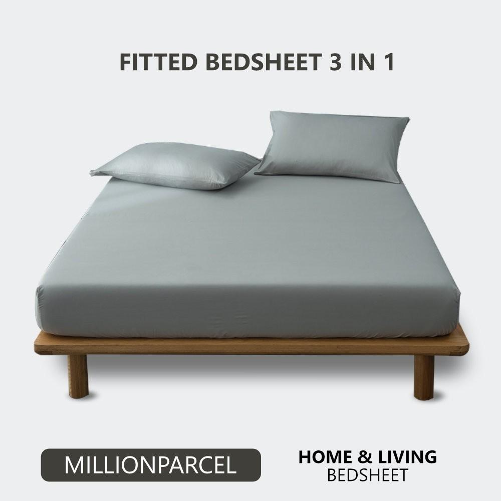 READY STOCK Comb Cotton Bedsheet  600TC / Fitted Sheet