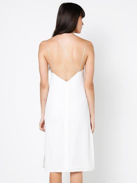 [RENT] MAURIE AND EVE white seventh floor silky midi slip dress