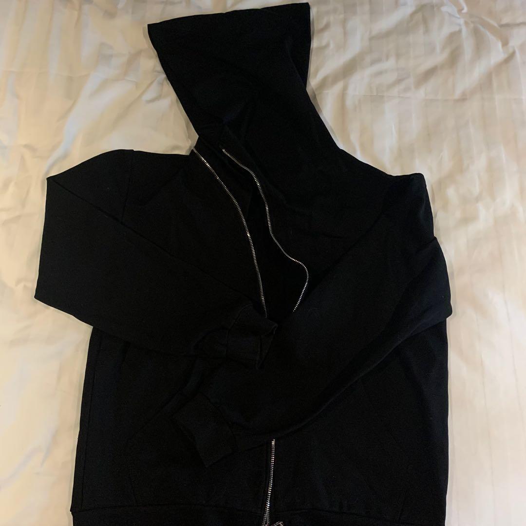 Rick Owens style oversized wizard hat zip hoodie black
