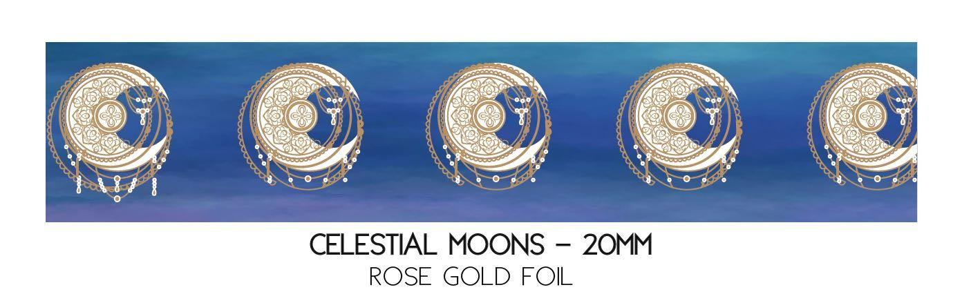 Simply Gilded CELESTIAL MOONS + rose gold foil Washi Sample #329