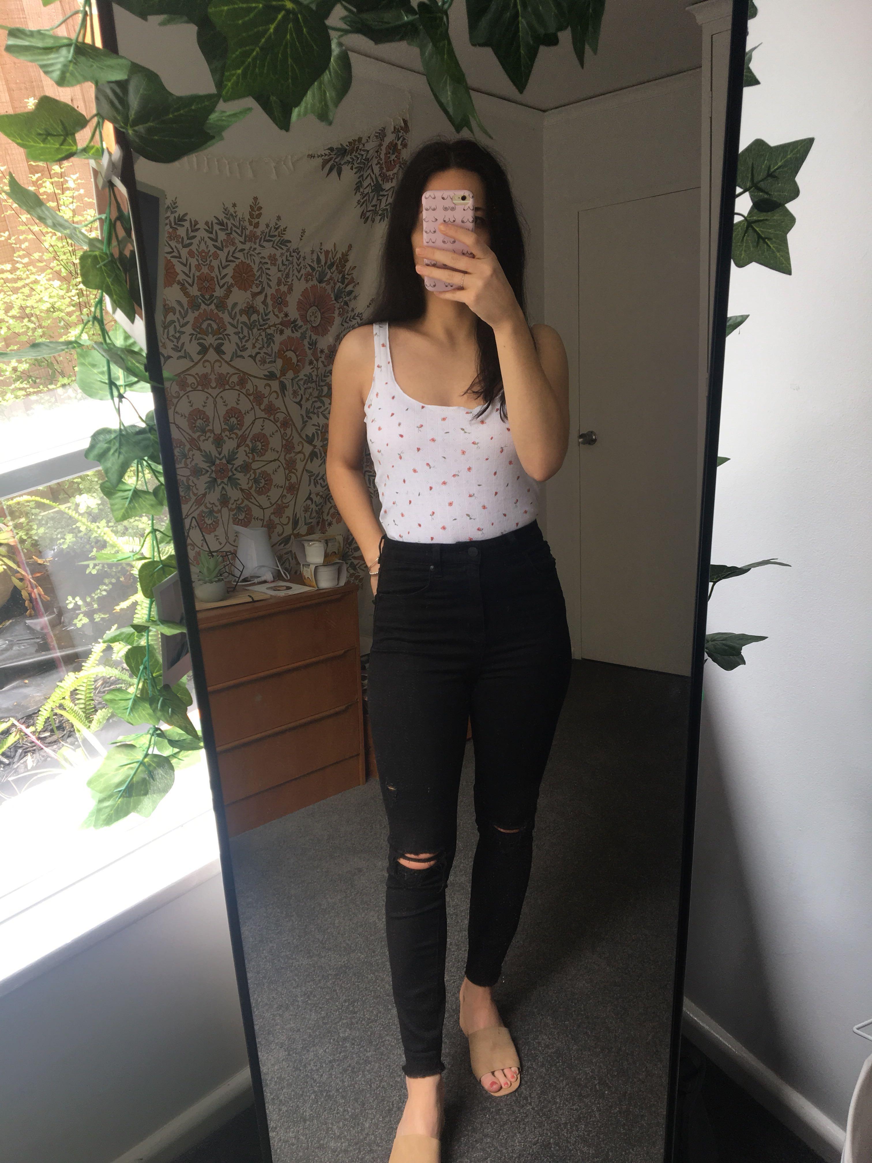Sportsgirl Black High Waisted  Ankle Graser Skinny Jeans 9