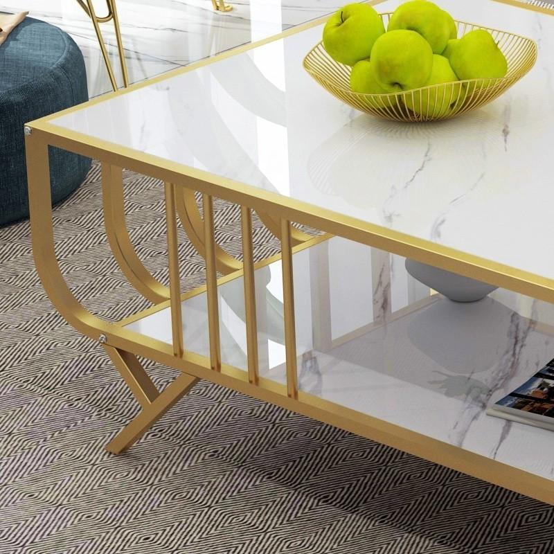 Wooden Marble Pattern Matt Coffee Table