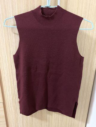 Uniqlo 酒紅針織毛衣背心 m號
