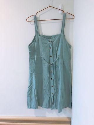 氣質吊帶湖水綠綁帶縮腰短洋裝