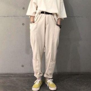 Opoism 米白雙口袋工作褲