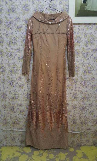 Long dress gaun nude full payet #promosidress