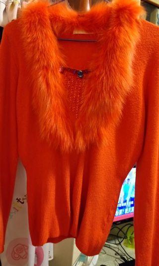 🍁兔毛領彈性亮鑽長袖針織毛衣