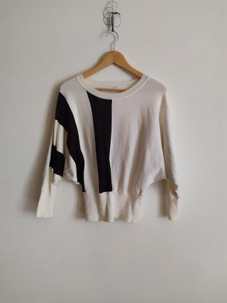 Loft 美國時尚名牌毛衣  #毛衣 #黑白 #幾何圖案 #飛鼠袖 (實穿照)