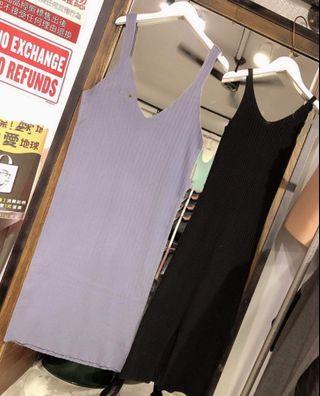 黑色大V領坑條背心裙
