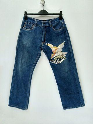 Sukajan Souvenir Embroidered Eagle Denim Jeans
