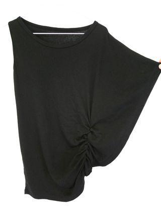 M~XL不對稱設計風 彈性棉T上衣