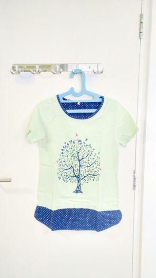 Kaos Korea - Korean T-shirt warna hijau pastel mint