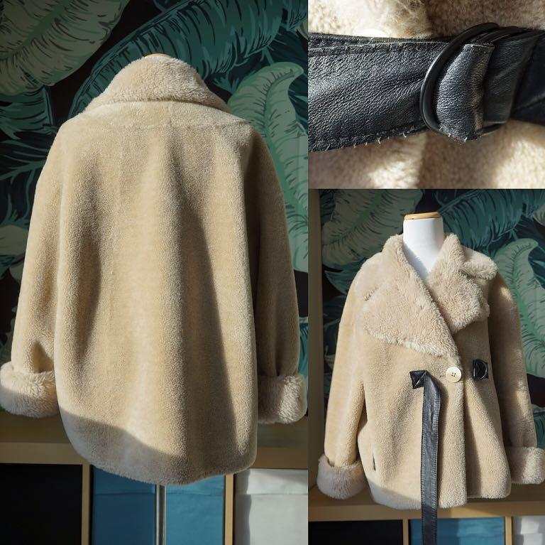 100% Wool Shearling Motor Biker Teddy Coat Size M Fits M-XL