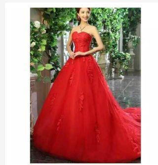Gaun pengantin merah - gaun prewedding merah - baju pesta merah - promnight dress - gaun mama - mc