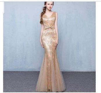 Gaun pesta gold mermaid - baju pesta emas - gold dress - singer dress - promnight - mc - sister gown