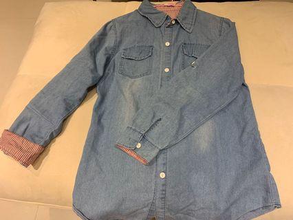 淺藍色 牛仔襯衫 S~M號