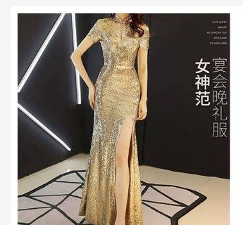Cheongsam sequin gold - cheong sam dress gold glitter - baju pesta gold - baju pesta emas