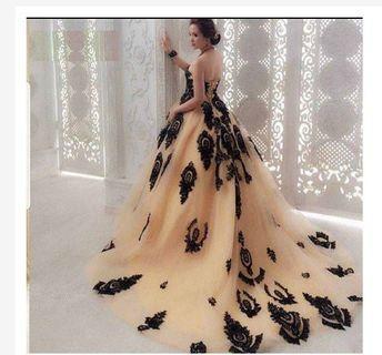 Gaun prewedding ballgown - gaun pesta cream - gaun mama - gaun mc - gaun singer - gaun pengantin