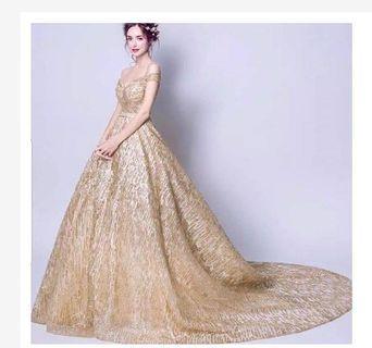 Gaun pesta gold - gaun mama - gaun prewedding - wedding dress gold - dress mc - dress singer