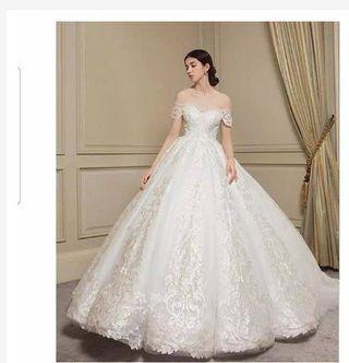 Gaun pengantin putih sabrina ballgown - baju pengantin - dress pengantin - Wedding dress bridal
