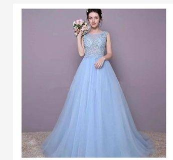 Gaun pesta biru - mc dress - singer dress - promnight dress - gaun prewedding - gaun mama