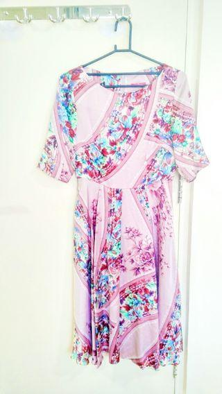 Dress Pink motif Bunga - Flower