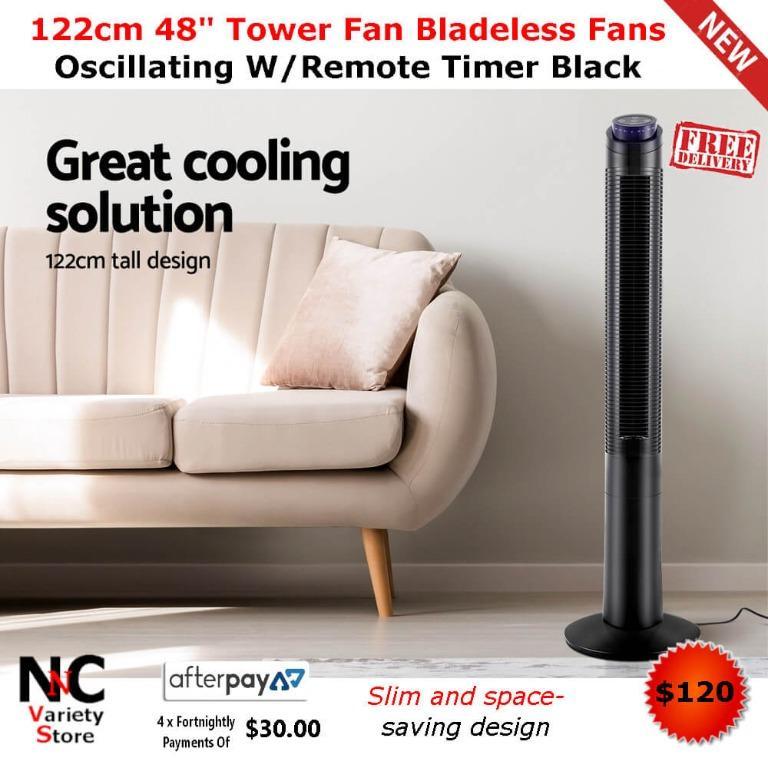 122cm 48″ Tower Fan Bladeless Fans Oscillating W/Remote Timer Black